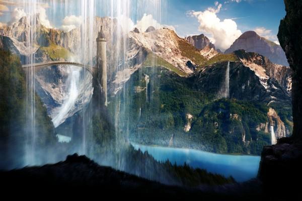 Cascadas rodeando el puente y la gran torre