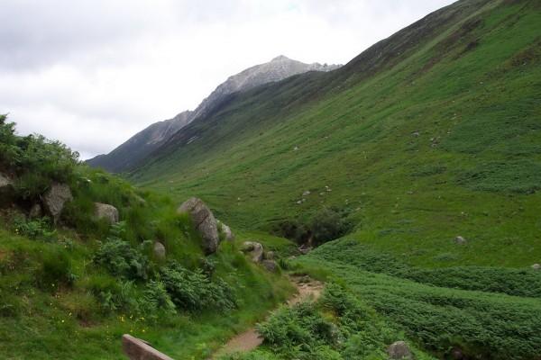 Sendero bajo las montañas
