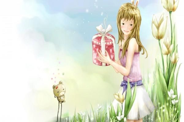 Muchacha con un presente