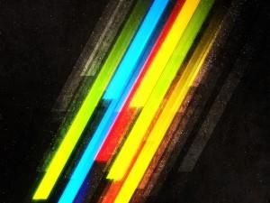 Franjas de colores en un fondo oscuro