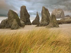 Postal: Grandes rocas sobre la arena de una playa