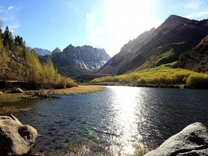 Sol brillando sobre las aguas de un río