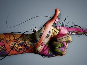Diseño digital sobre una mano