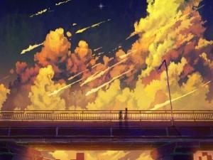 Postal: Admirando una estrella desde un puente