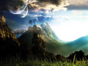 Postal: Planetas sobre las montañas