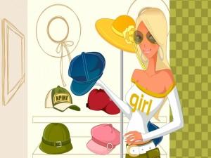 Una mujer comprando sombreros