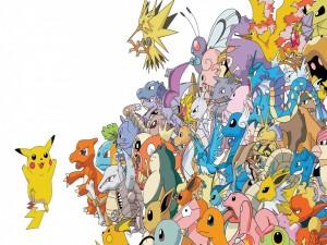 Postal: Pikachu saludando al resto de los pokémon