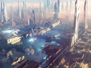 Postal: Naves espaciales en un planeta lejano