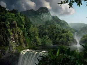 Postal: Cascadas en un mundo de fantasía