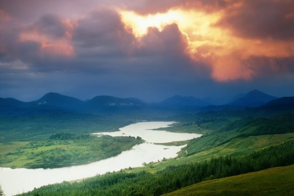 Paisaje verde rodeando un lago