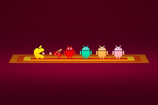 Pac-Man Apple y logos de Android