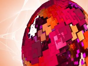 Globo formado por piezas cuadradas