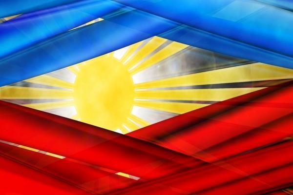 Sol brillante en la bandera Filipina