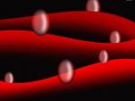 Burbujas entre curvas rojas