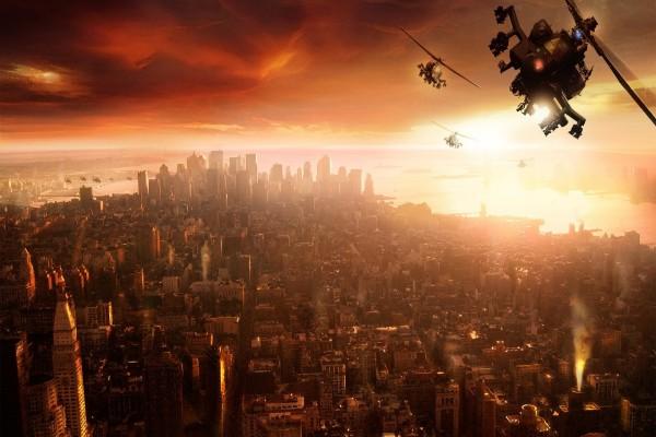 Helicópteros sobrevolando una ciudad