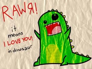 Postal: Un dinosaurio enamorado