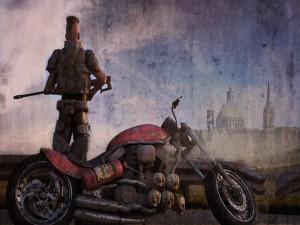 Postal: Calaveras colgando de una moto