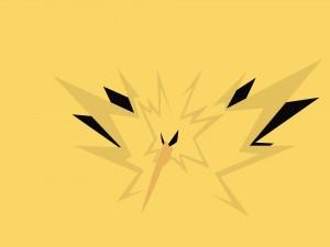 Postal: Un pokémon en fondo amarillo