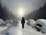 Coches atrapados en la nieve