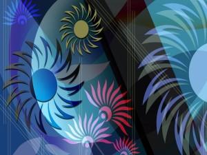 Postal: Diseño abstracto de flores