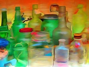 Postal: Pintura de botellas y tarros