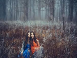 Postal: Dos chicas en el campo
