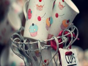 Postal: Bonitas tazas para tomar algo dulce