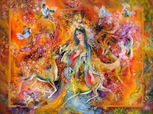 Hermosa mujer rodeada de ciervos, aves y coloridas flores