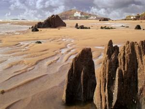 Postal: Agua sobre la arena tras bajar la marea