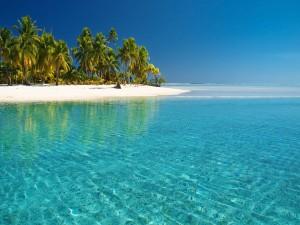Aguas cristalinas junto a una isla