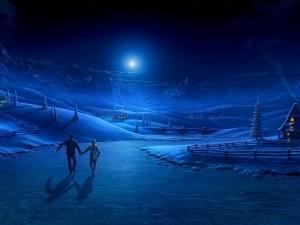 Postal: Pareja patinando en una noche de invierno