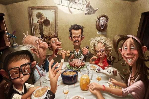 Una divertida familia cenando