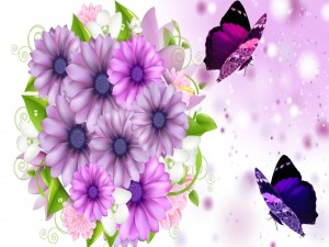Postal: Flores y mariposas de color lila y púrpura