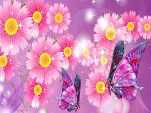 Flores rosadas y dos mariposas