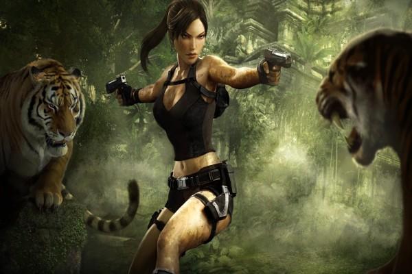Lara Croft entre dos tigres (Tomb Raider)