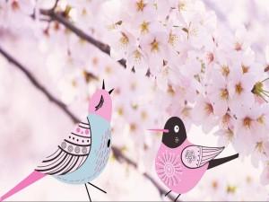 Postal: Pájaros entre flores rosas