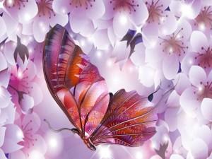 Postal: Mariposa libre entre flores de cerezo