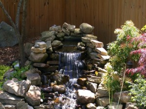 Postal: Cascada en un jardín