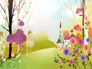 La primavera con una bella variedad de colores