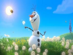 Postal: Olaf festejando la primavera (Frozen)