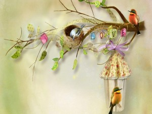 Postal: La alegría y el amor de los pájaros en primavera