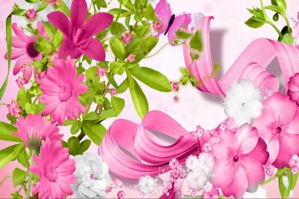 Imagen con flores rosadas