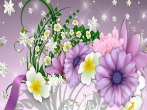Imagen con gotas brillantes y flores