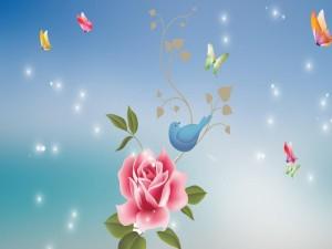 Postal: Pájaro posado junto a una bella rosa