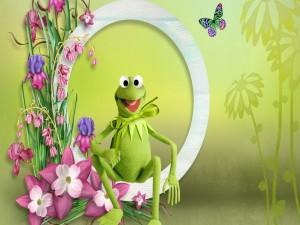 Postal: La rana Gustavo entre las flores primaverales
