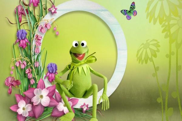 La rana Gustavo entre las flores primaverales