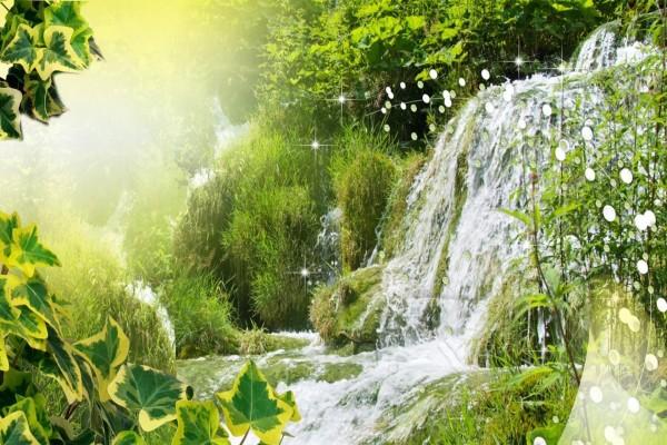 Luz del sol brillando junto a una cascada de fantasía