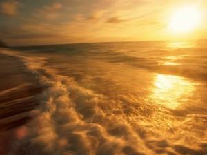 Postal: El sol iluminando las olas del mar