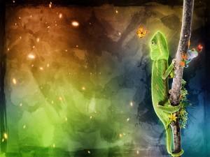 Camaleón, rana y mariquitas sobre la misma rama
