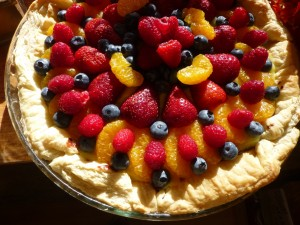Tarta de hojaldre con mandarina y frutos rojos